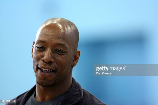 Former Arsenal and England Footballer Ian Wright promotes a new scheme 'Fitter Kids' to encourage children to be healthier at Edmonton Leisure Centre...