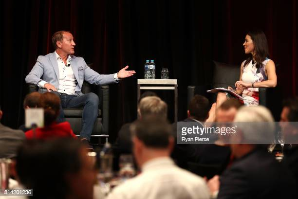 Former Arsenal Footballer Ray Parlour is interviewed by Tara Rushton during the Western Sydney Wanderers Gold Star Luncheon at The Westin on July 14,...
