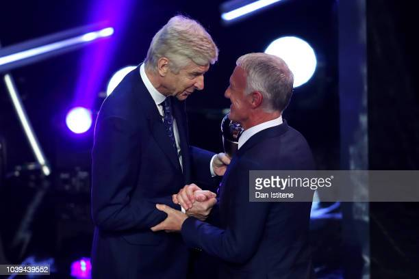 Former Arsenal Manager Arsene Wenger presents Didier Deschamps Manager of France with the trophy for the FIFA Men's Coach 2018 during the The Best...