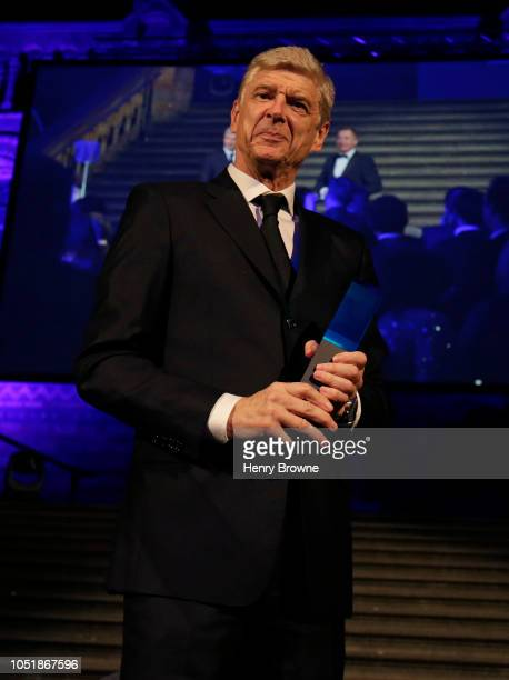 Former Arsenal Manager Arsene Wenger receives the Lifetime Achievement Award during the Leaders Sport Awards at the Natural History Museum on October...