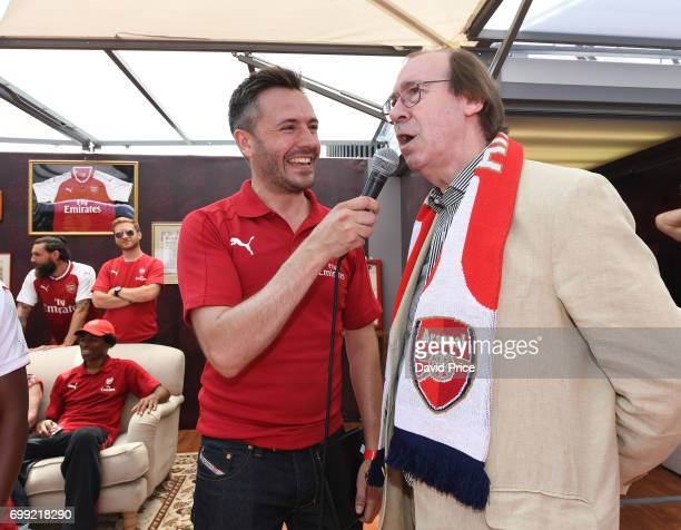 Former Arsenal player Charlie George on stage as he helps introduce the new Arsenal Puma Home kit at King's Cross St Pancras Station on June 21 2017...