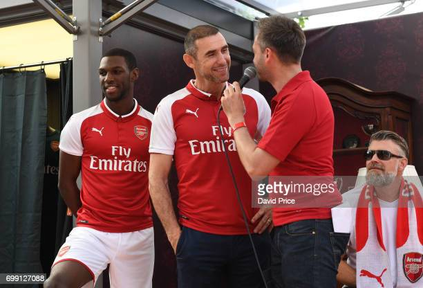 Former Arsenal player Martin Keown on stage to help introduce the new Arsenal Puma Home kit at King's Cross St Pancras Station on June 21 2017 in...