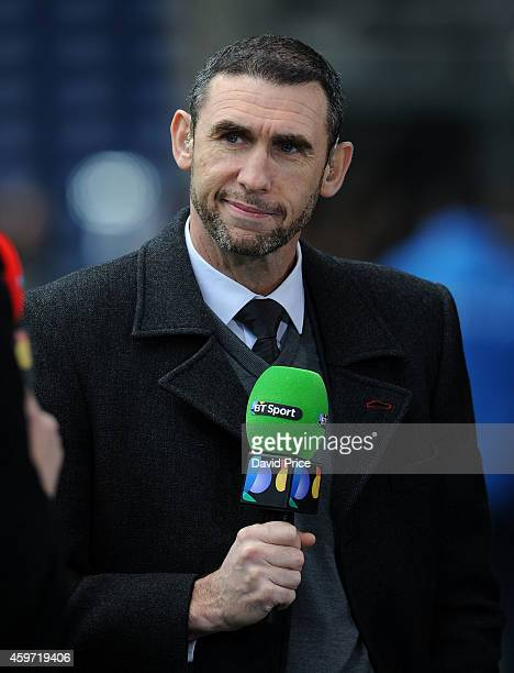 Former Arsenal player Martin Keown working for BT Sport before the match between West Bromwich Albion and Arsenal in the Barclays Premier League at...