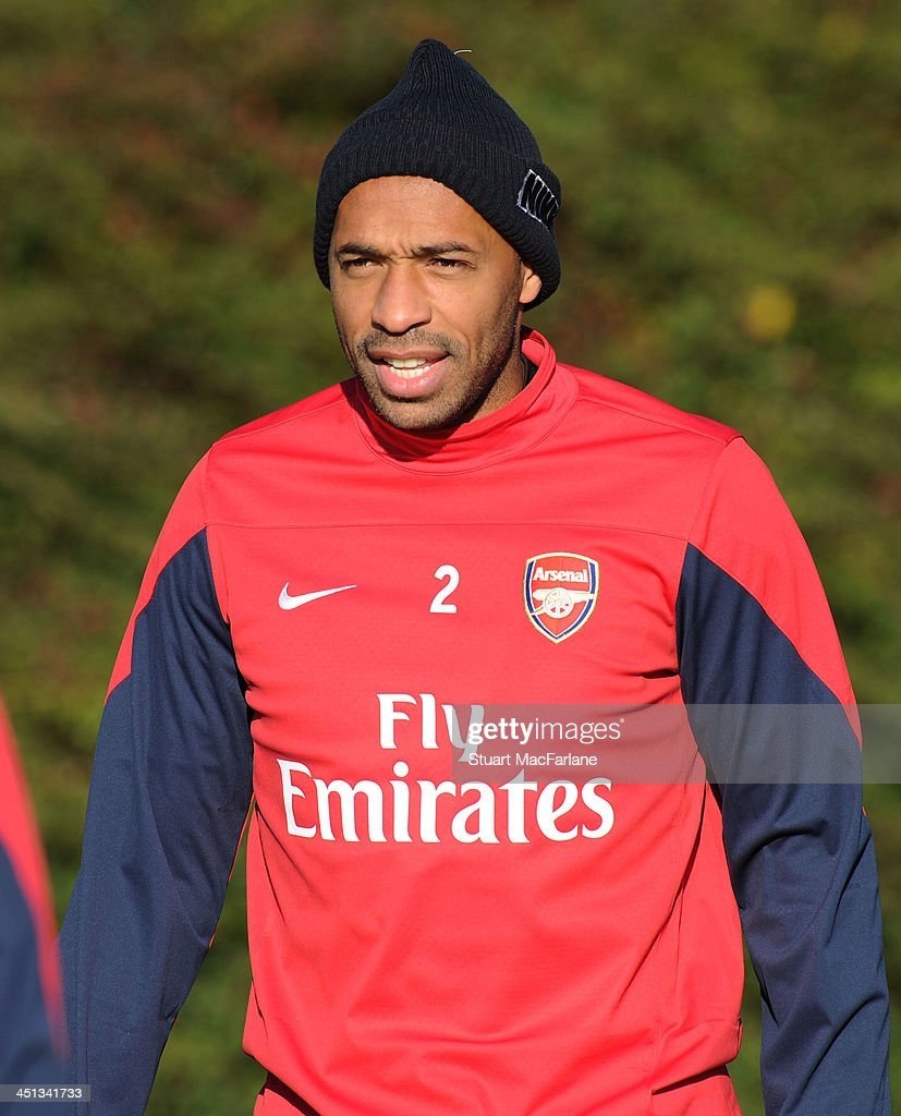 Former Arsenal player Thierry Henry training with the squad during at London Colney on November 22, 2013 in St Albans, England.