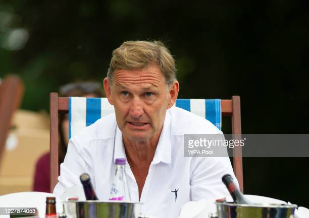 Former Arsenal player, Tony Adams watches the match as Prince William, Duke of Cambridge hosts an outdoor screening of the Heads Up FA Cup final on...