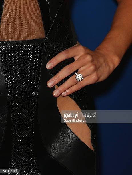 Former artistic gymnast Nastia Liukin ring detail attends the 10th anniversary celebration of 'The Beatles LOVE by Cirque du Soleil' at The Mirage...