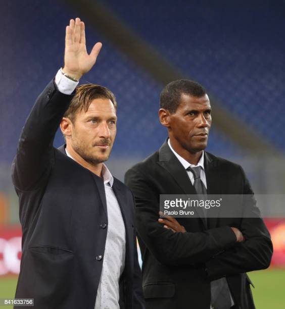 Former AS Roma players Francesco Totti and Aldair attend during the friendly match between AS Roma and Chapecoense at Olimpico Stadium on September 1...
