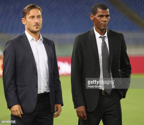 Former AS Roma players Francesco Totti and Aldair pose during the friendly match between AS Roma and Chapecoense at Olimpico Stadium on September 1...