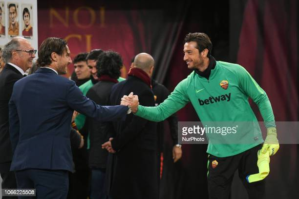 Former AS Rome forward Francesco Totti and Antonio Mirante of AS Roma during the Champions league football match between AS Roma and Real Madrid at...