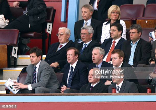 Former aston Villa chairman Doug Ellis current chairman Randy Lerner and former manager Ron Saunders bottom in the stands