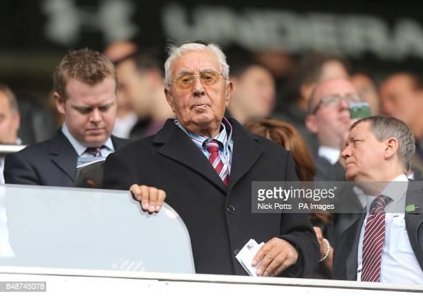 Former Aston Villa chairman Doug Ellis in the stands