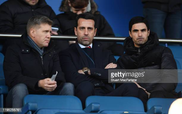 Former Aston Villa Director of Football Steve Round with Arsenal Technical Director Edu with Head Coach Mikel Arteta before the Premier League match...