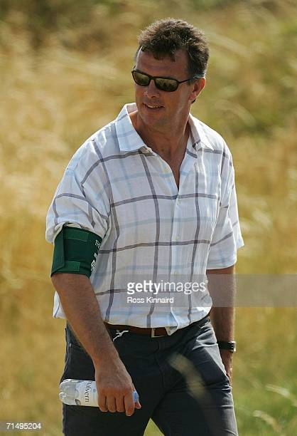 Former Aston Villa Manager David O'Leary watches the action during the second round of The Open Championship at Royal Liverpool Golf Club on July 21...
