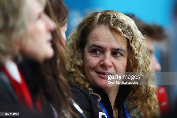 Former astronaut and Canada Governor General, Julie Payette looks on during the Curling Mixed Doubles on day two of the PyeongChang 2018 Winter...