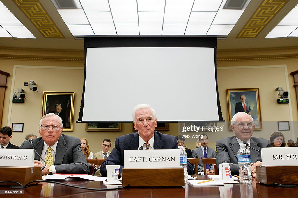 Former astronaut and commander of Apollo 11 Neil Armstrong, retired Navy Captain and commander of Apollo 17 Eugene Cernan, and former executive vice president of Lockheed Martin Thomas Young testify during a hearing before the House Science and Technology Committee May 26, 2010 on Capitol Hill in Washington, DC. The hearing was to review proposed human spaceflight plan by NASA.