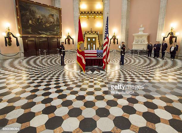 Former astronaut and U.S. Senator John Glenn lies in repose, under a United States Marine honor guard, in the Rotunda of the Ohio Statehouse December...