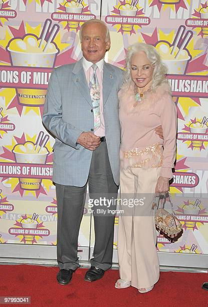Former astronaut Buzz Aldrin and his wife Lois Aldrin attend the event to launch Nicey Nash's milkshake at Millions of Milkshakes on March 23 2010 in...