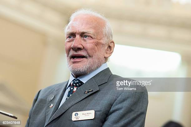 Former astronaut Buzz Aldrin attends a ceremony in the House Ways and Committee hearing room to dedicate a room in Rayburn Building in the name of...