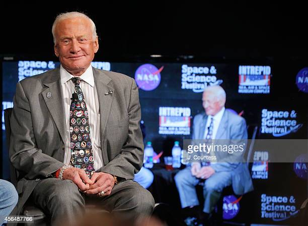 Former astronaut Buzz Aldrin attends A Conversation With Buzz Aldrin And Mike Massimino at the Intrepid SeaAirSpace Museum on July 18 2014 in New...