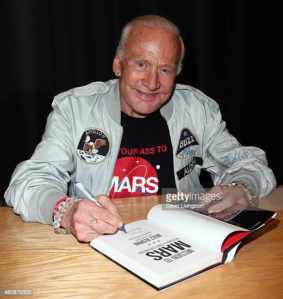 "Former astronaut Buzz Aldrin attends a signing for his book ""Mission to Mars"" at Barnes & Noble Booksellers on July 28, 2014 in Glendale, California."