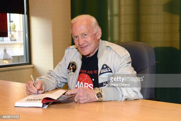 Former astronaut Buzz Aldrin attends a signing for his book 'Mission to Mars' at Barnes Noble Booksellers on July 28 2014 in Glendale California