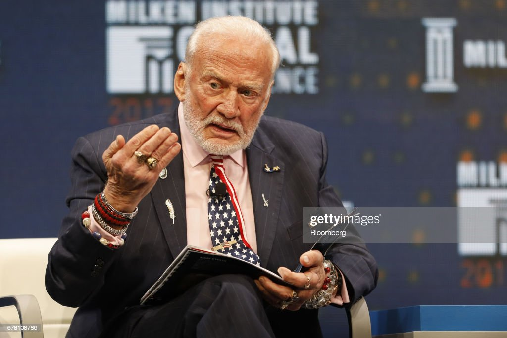 Former astronaut Buzz Aldrin speaks during the Milken Institute Global Conference in Beverly Hills, California, U.S., on Wednesday, May 3, 2017. The conference is a unique setting that convenes individuals with the capital, power and influence to move the world forward meet face-to-face with those whose expertise and creativity are reinventing industry, philanthropy and media. Photographer: Patrick T. Fallon/Bloomberg via Getty Images