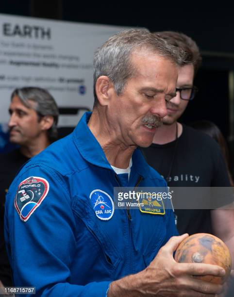 Former astronaut Chris Hadfield appears at the Silicon Valley Comic Con at the Kid's Zone area at the San Jose Convention Center on August 17 2019 in...