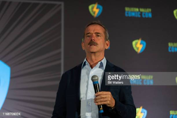 Former astronaut Chris Hadfield appears on stage at the Silicon Valley Comic Con at the San Jose Convention Center on August 17 2019 in San Jose...