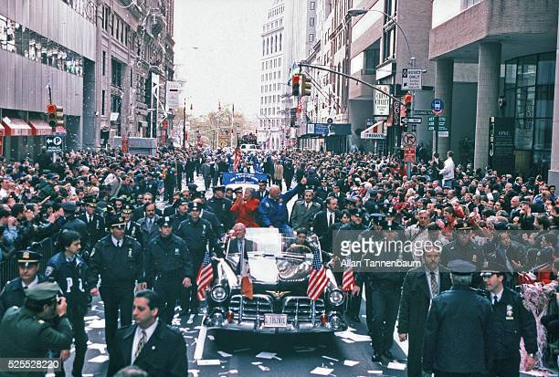 Former Astronaut Senator John Glenn gets a ticker tape parade to welcome him back from his return to Space on the Shuttle New York New York November...