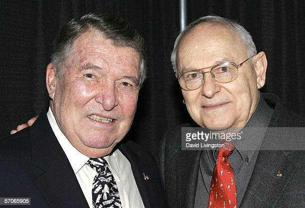Former astronauts Wally Schirra and Alan Bean pose at Creation Entertainment's Grand Slam XIV The SciFi Summit at The Pasadena Center on March 12...