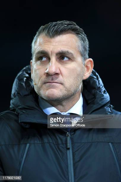 Former Atalanta and Italy player Christian Vieri looks on during the UEFA Champions League group C match between Manchester City and Atalanta at the...