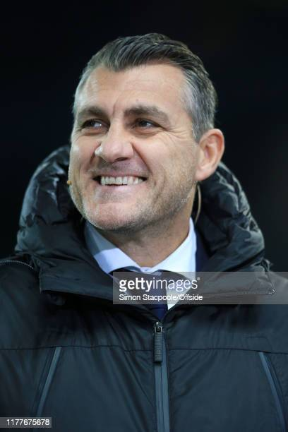 Former Atalanta and Italy player Christian Vieri smiles during the UEFA Champions League group C match between Manchester City and Atalanta at the...