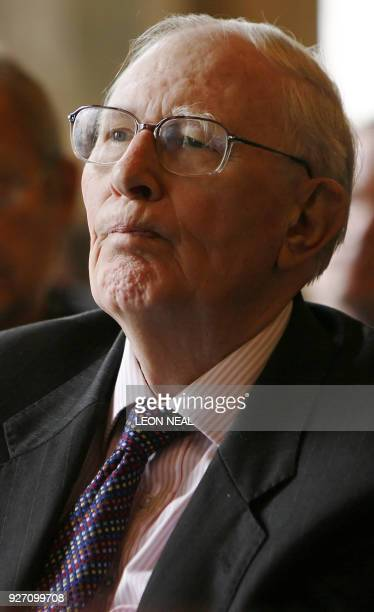 Former athlete Roger Bannister the first man to run the mile in less than four minutes watches a film as he attends the launch of the 'Oxford...