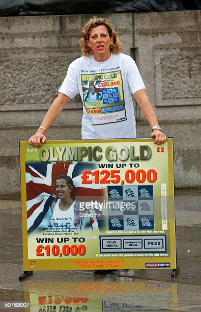 Former athlete Sally Gunnell helps launch the new British Olympic Association 'Olympic Gold' Scratchcard in Trafalgar Square on April 29 2004 in...