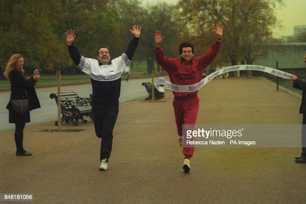Former athlete Sebastian Coe and hotels chairman John Jarvis celebrate in London at the launch of the joint Health Park venture Sebastian Coe Health...