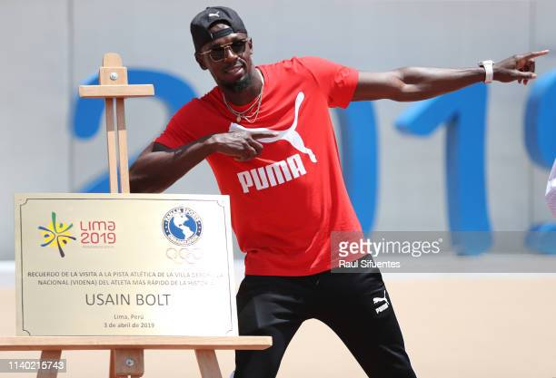 Former athlete Usain Bolt takes part in the inauguration of the new track of Villa Deportiva Nacional which will host the next Pan American Games...
