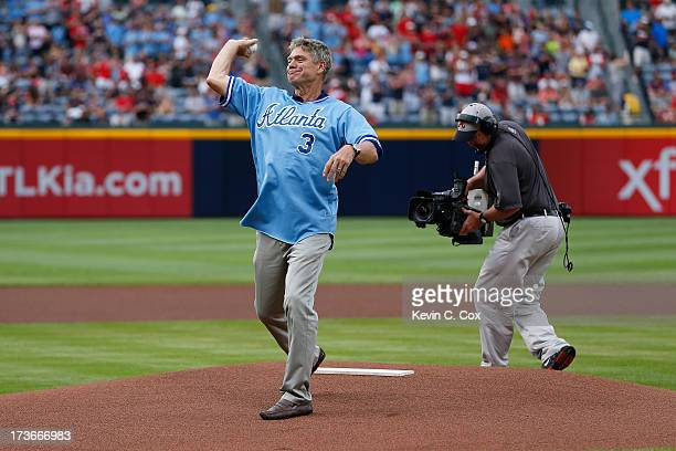 Former Atlanta Brave Dale Murphy is honored by the Atlanta Braves prior to the game against the Cincinnati Reds at Turner Field on July 11 2013 in...