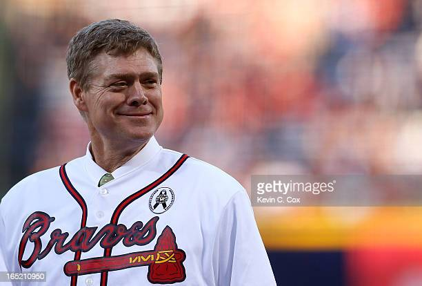 Former Atlanta Brave Dale Murphy stands on the field prior to the game against the Philadelphia Phillies during Opening Day at Turner Field on April...