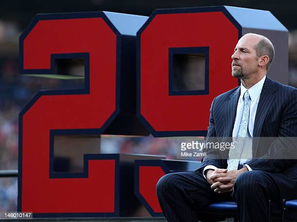 Former Atlanta Braves pitcher John Smoltz awaits the start of his retirement ceremony and before the game between the Atlanta Braves and the Toronto...