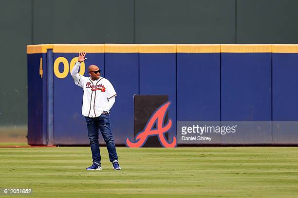 Former Atlanta Braves player Andruw Jones is introduced as a member of the All Turner Field Team prior to the game at Turner Field on October 2 2016...