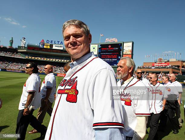 Former Atlanta Braves player Dale Murphy attends a ceremony for retiring Manager Bobby Cox before the game against the Philadelphia Phillies at...