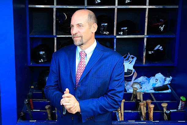 Former Atlanta Braves player John Smoltz stands in the dugout after the game against the Detroit Tigers at Turner Field on October 2, 2016 in...