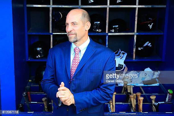 Former Atlanta Braves player John Smoltz stands in the dugout after the game against the Detroit Tigers at Turner Field on October 2 2016 in Atlanta...