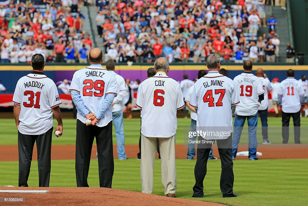 Former Atlanta Braves players Tom Glavine, John Smoltz, and Greg Maddux and manager Bobby Cox are introduced as members of the All Turner Field Team prior to the game at Turner Field on October 2, 2016 in Atlanta, Georgia.
