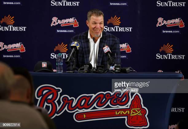 Former Atlanta Braves third baseman Chipper Jones speaks to the media during a press conference on January 24 at SunTrust Park in Atlanta GA Jones...