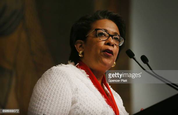 Former Attorney General Loretta Lynch speaks at the New York Historical Society on June 20 2017 in New York City Lynch who served under President...