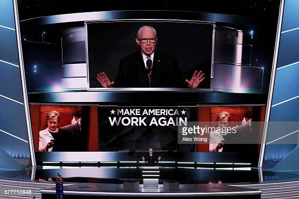 Former attorney general Michael Mukasey delivers a speech on the second day of the Republican National Convention on July 19 2016 at the Quicken...
