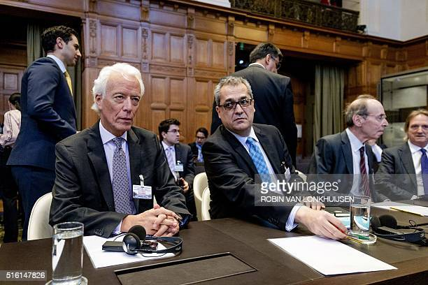 Former Attorney General of Colombia Carlos Gustavo Arrieta Padilla and his legal counsel, attend the hearing on the border dispute between Colombia...