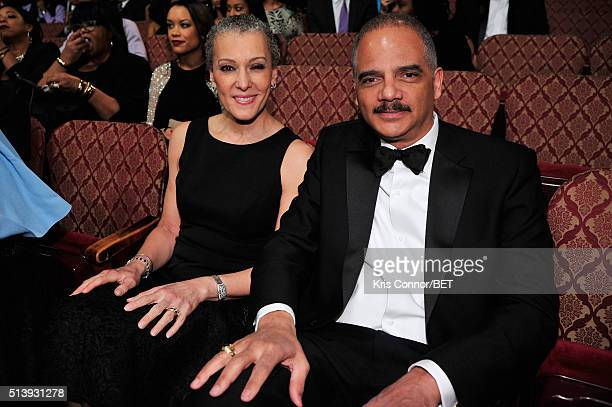 Former Attorney General of the United States and honoree Eric Holder and Sharon Malone attend the BET Honors 2016 PreShow at Warner Theatre on March...