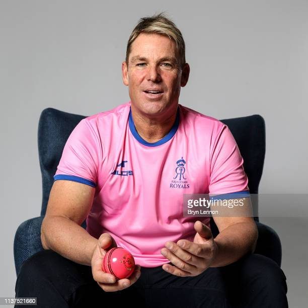 Former Australia and Rajasthan Royals player Shane Warne poses for a photo on March 18, 2019 in Hammersmith, England.
